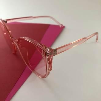 Óculos de Sol Lente Transparente Rosa