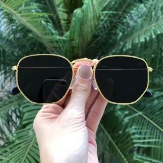 oculos de sol hexagonal dourado elisa new