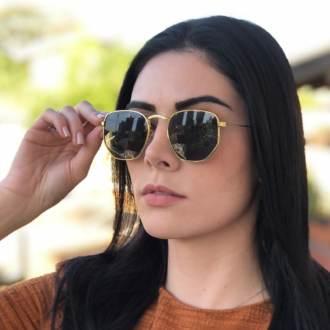 oculos de sol hexagonal dourado com verde elisa new 2