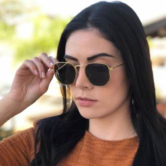 oculos de sol hexagonal dourado com verde elisa new 3