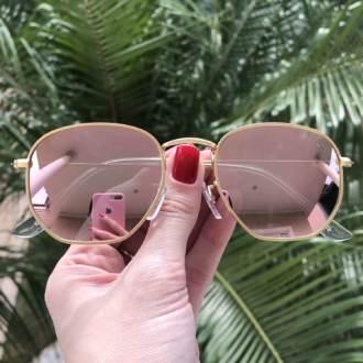 saline.com.br oculos de sol hexagonal rose espelhado