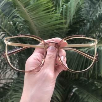 safine com br oculos de grau redondo marrom transparente ariana