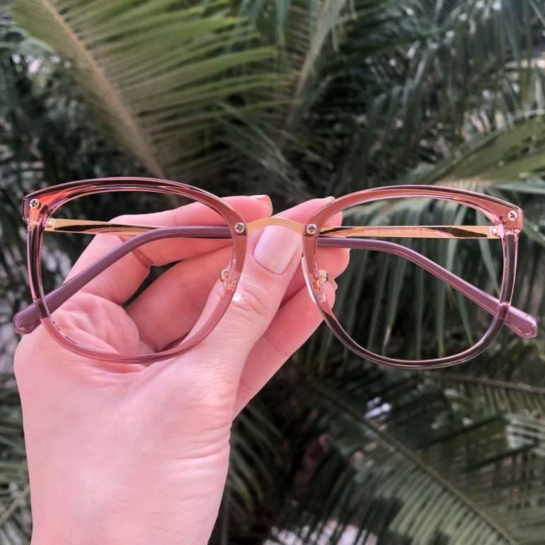 safine com br oculos de grau quadrado marrom transparente clau