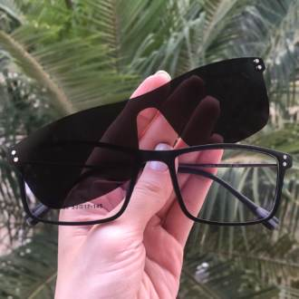 safine com br oculos 2 em 1 retangular preto fosco new