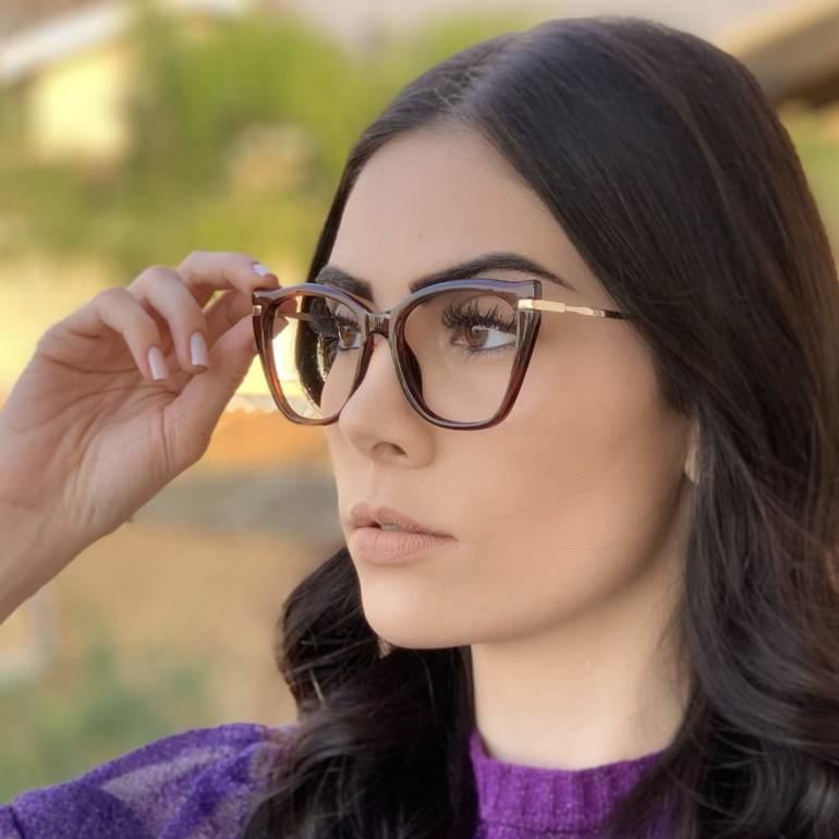 safine com br oculos de grau gatinho marrom bela