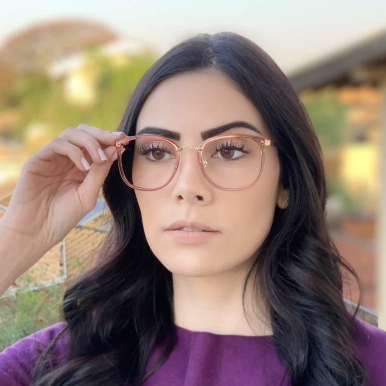 safine com br oculos de grau quadrado marrom transparente clau 2