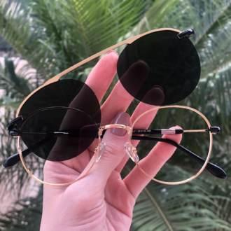 safine com br oculos 2 em 1 redondo dourado com preto mila