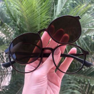 safine com br oculos 2 em 1 redondo marrom mari