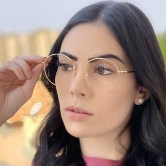 safine com br oculos de grau redondo titanio dourado 2