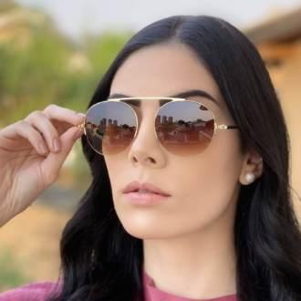safine com br oculos de sol aviador marrom com dourado milena 2