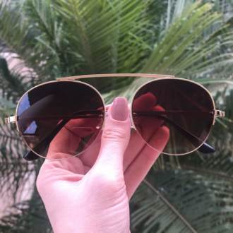 safine com br oculos de sol aviador marrom com dourado milena