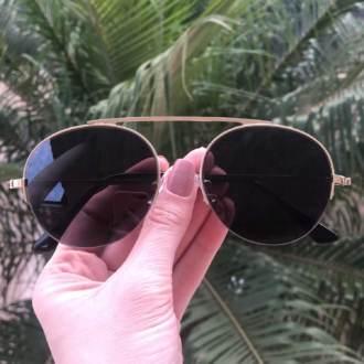 safine com br oculos de sol aviador preto com dourado milena 2