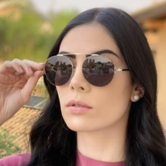 safine com br oculos de sol aviador preto com prata milena 2