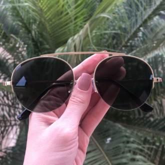 safine com br oculos de sol aviador verde com dourado milena