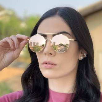 safine com br oculos de sol redondo dourado espelhado lili 2