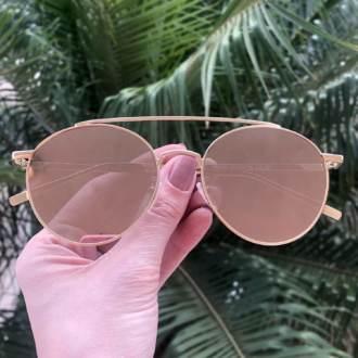 safine com br oculos de sol redondo dourado espelhado lili
