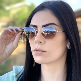 safine com br oculos de sol hexagonal marrom degrade luci 1