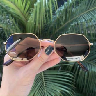 safine com br oculos de sol hexagonal marrom luci