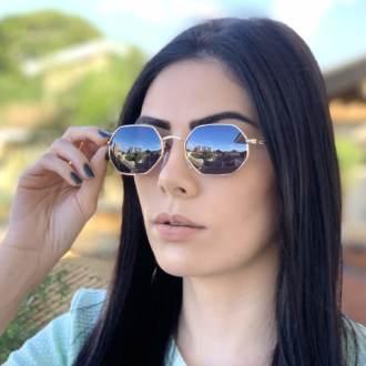 safine com br oculos de sol hexagonal preto com dourado luci 2