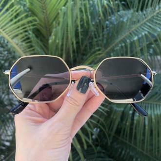 safine com br oculos de sol hexagonal preto com dourado luci