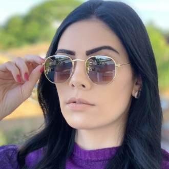 safine com br oculos de sol hexagonal marrom degrade elisa new 1