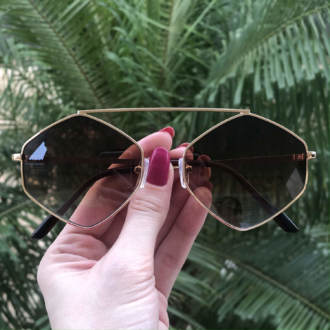 safine com br oculos de sol hexagonal marrom tati