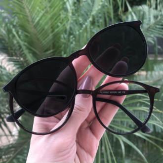 safine com br oculos 2 em 1 redondo marrom cloe