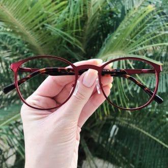 safine com br oculos de grau em metal redondo vermelho julia