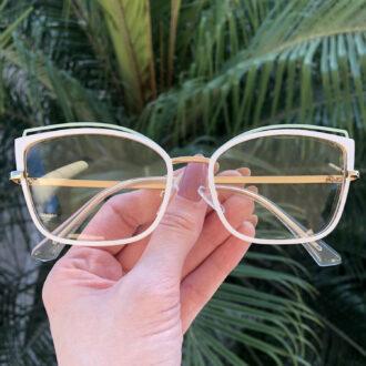 safine com br oculos de grau gatinho de metal branco taisa 3