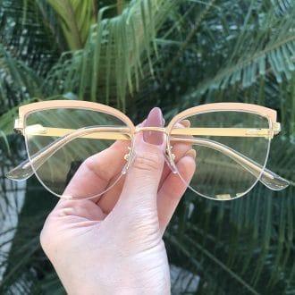 safine com br oculos de grau gatinho de metal nude agnes 7