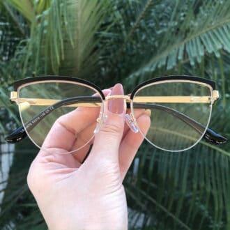 safine com br oculos de grau gatinho de metal preto agnes 3