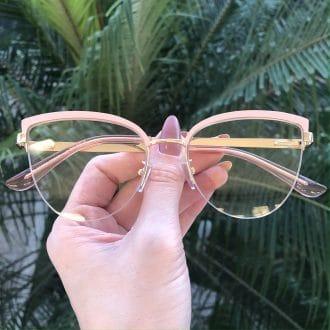 safine com br oculos de grau gatinho de metal rosa agnes 3