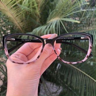 safine com br oculos de grau gatinho preto com rosa dani