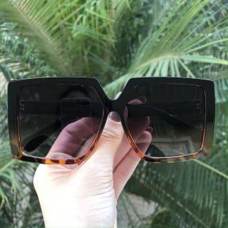 safine com br oculos de sol quadrado preto com tartaruga paty