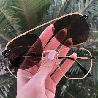 safine com br oculos 2 em 1 hexagonal dourado e marrom