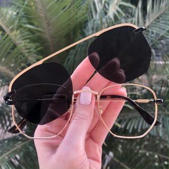 safine com br oculos 2 em 1 hexagonal dourado e preto