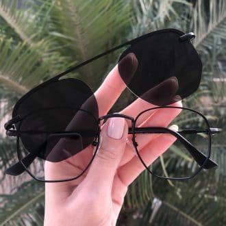 safine com br oculos 2 em 1 hexagonal em metal preto