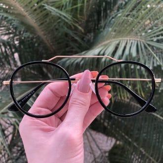 safine com br oculos de grau aviador redondo ivy preto