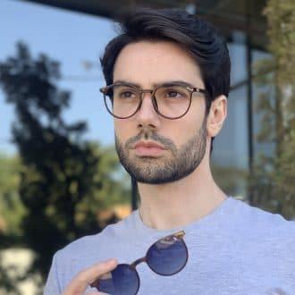 safine com br oculos 2 em 1 clip on masculino redondo marrom joao 2