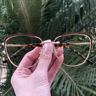 safine com br oculos de grau de metal gatinho marrom lorena