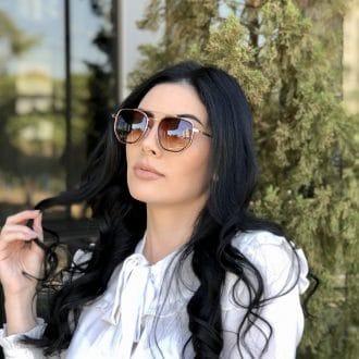 safine com br oculos de sol hexagonal aviador marrom e rose mariah 1