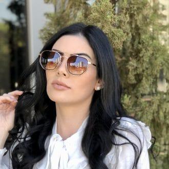 safine com br oculos de sol hexagonal aviador marrom mariah 2