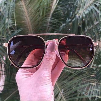 safine com br oculos de sol hexagonal aviador marrom mariah 4