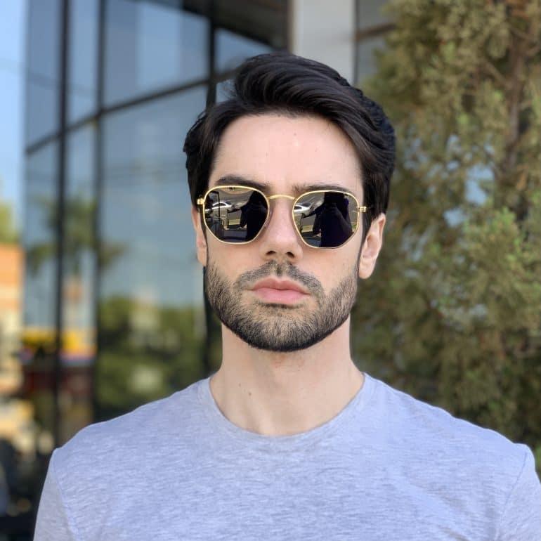 safine com br oculos de sol masculino hexagonal dourado 1