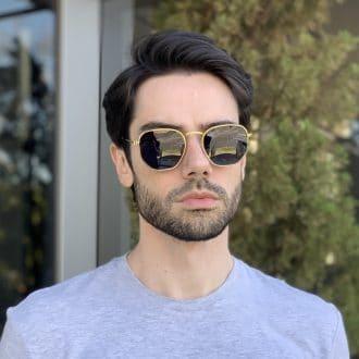 safine com br oculos de sol masculino hexagonal dourado 2