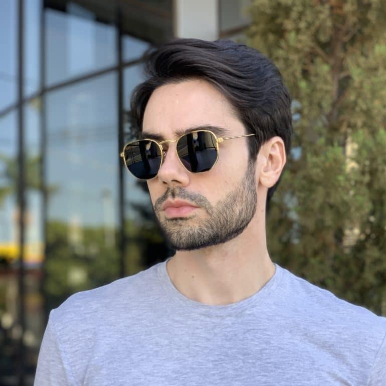 safine com br oculos de sol masculino hexagonal dourado