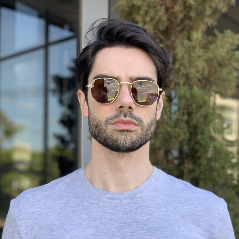 safine com br oculos de sol masculino hexagonal marrom 1