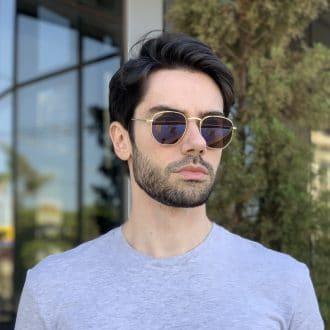 safine com br oculos de sol masculino hexagonal marrom 2