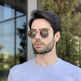 safine com br oculos de sol masculino hexagonal marrom