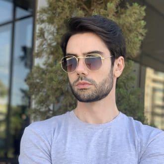 safine com br oculos de sol masculino hexagonal marrom copia
